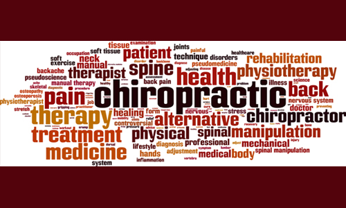 Collage of words that relate or explain the practice of Chiropractic medicine